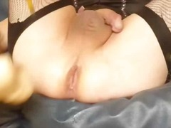 spielzeug, transe, blond, lingerie, anal