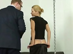 humiliation, stockings, glasses, uniform, foot fetish, wanking, heels, spank, mistress