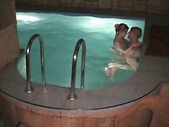 шпионски, голи жени, скрит, басейн, двойка