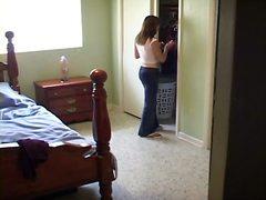 スパイ, ランジェリー, ベッド, 美少女, 隠しカメラ, 覗き見