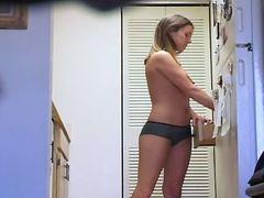 blonde, tits, kitchen, candid, panties, hidden, voyeur
