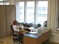 オフィス, マスターベーション, ストッキング, 覗き見, 隠しカメラ