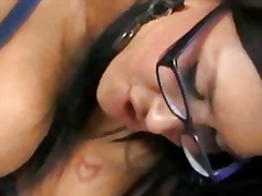 video, brunette, glasses, stocking, bigcock, busty, nylons, bigtits, panties, bra