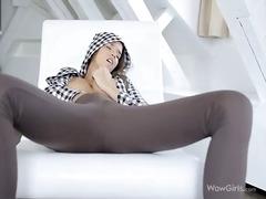 solo, caresser, rasées, doigts, filles sexy, chattes, orgasme, jeune fille, masturbation