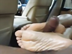 脚フェチ, 精液, 黒い肌, 人妻, 黒人