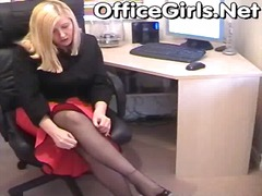 secretary, office, pantyhose
