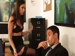 boobs, titty, naughty, brunette, stockings, secretary, boss, office