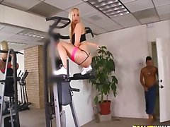 couple, blonde, gym, anal