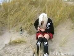 публично, момичета, блондинки, плаж, голи жени