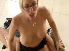 slut, video, office, glasses, movies, uniform, blonde, secretary