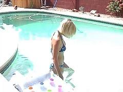プール, 美少女, 金髪, 美人系, 裸, ヌード, フレッシュギャル