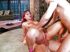 трио, масов секс, червенокоси