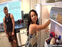 mom, kitchen, son, friend, horny, fucking