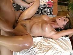 olie, massage, bryster, erotik